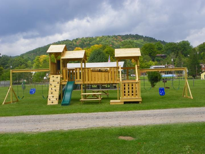 Our family oriented campground has a fun play and swing set